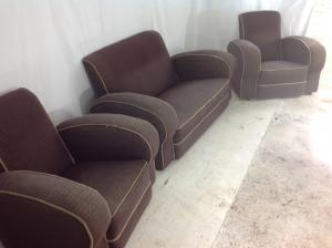 Art Deco 1940s brown sofa  chairs 3 pce suite