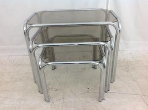 Chrome and smoked glass nest of tables