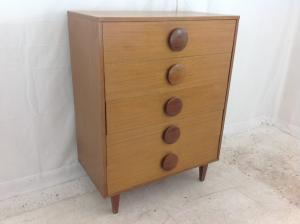 danish style chest of drawers with funky big knobs