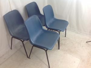 Set of 4 blue adult size stacking chairs