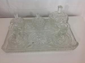 Vintage clear glass dressing table set