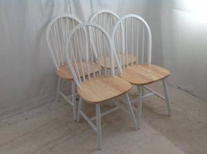 4 white and beech chairs