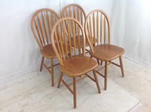 set of 4 hardwood chairs