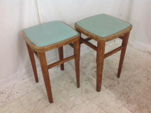 2 x vintage low kitchen stools